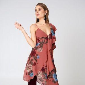 Keepsake One Shoulder Asymmetric Floral Dress XXS